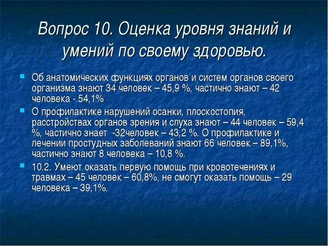 Вопрос 10. Оценка уровня знаний и умений по своему здоровью. Об анатомических...