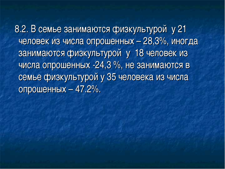 8.2. В семье занимаются физкультурой у 21 человек из числа опрошенных – 28,3...