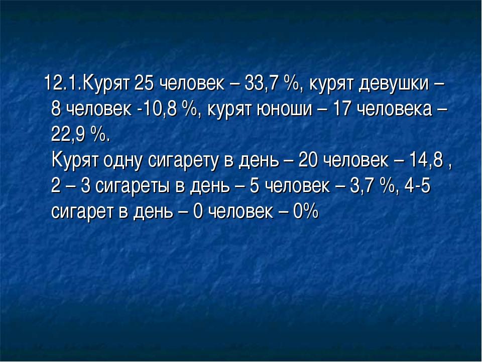12.1.Курят 25 человек – 33,7 %, курят девушки – 8 человек -10,8 %, курят юно...