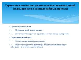 Организационный этап: •Обсуждение целей и задач проекта; •Составление плана