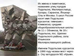 Их имена в памятниках, названиях улиц городов Подольска, Малоярославца, Бухар