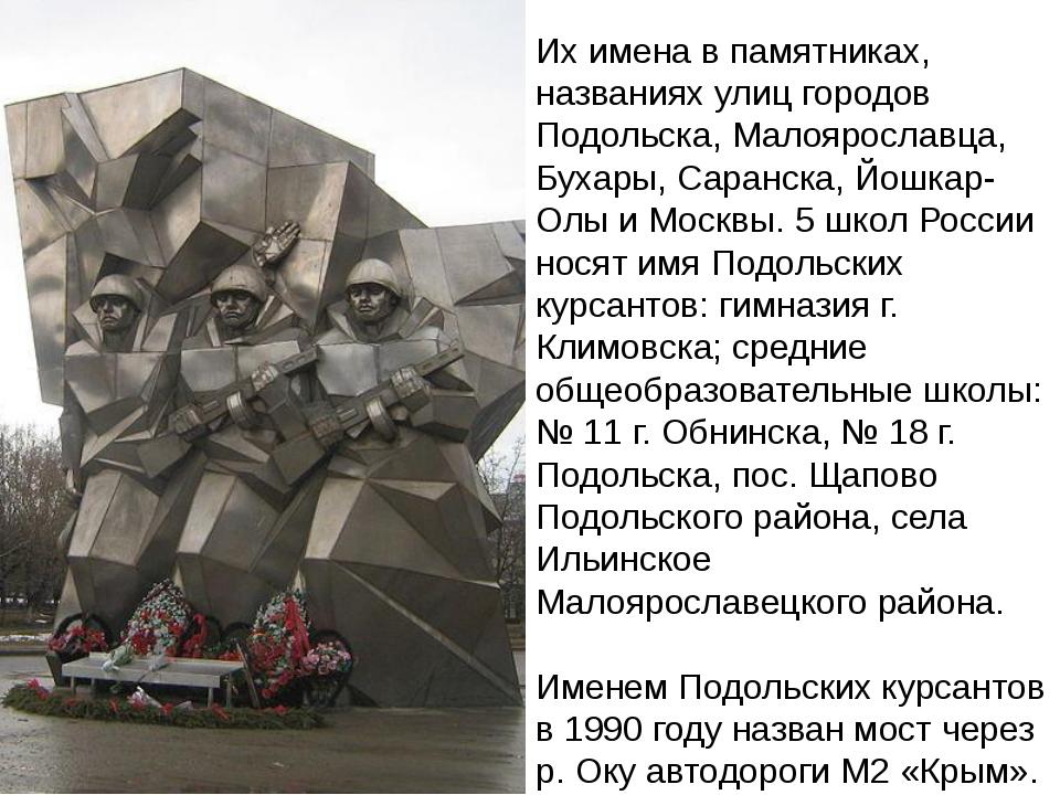 Их имена в памятниках, названиях улиц городов Подольска, Малоярославца, Бухар...