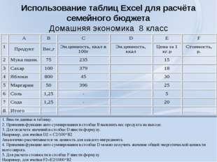 Использование таблиц Excel для расчёта семейного бюджета Домашняя экономика 8
