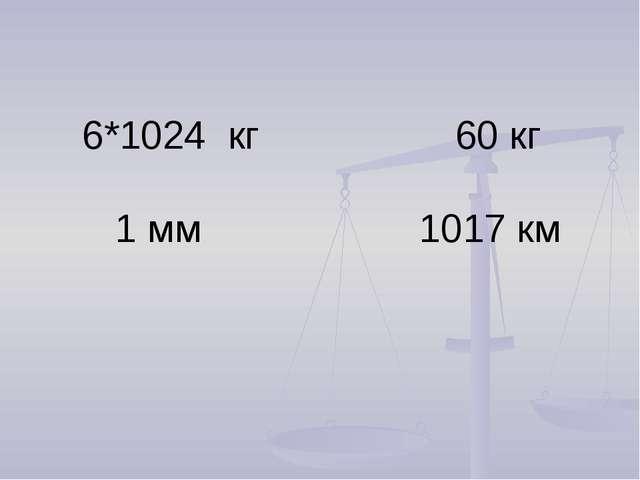 6*1024 кг 60 кг 1 мм 1017 км
