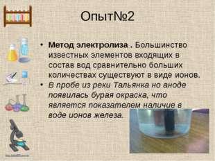 Опыт№2 Метод электролиза . Большинство известных элементов входящих в состав