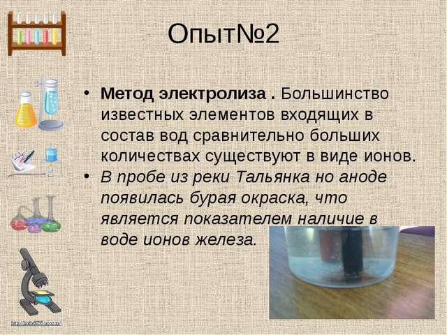Опыт№2 Метод электролиза . Большинство известных элементов входящих в состав...