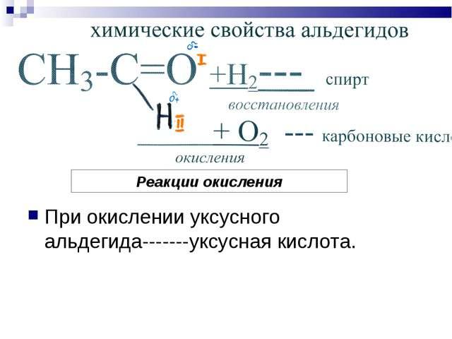 При окислении уксусного альдегида-------уксусная кислота. Реакции окисления