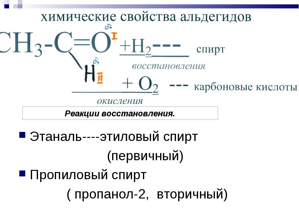 Этаналь----этиловый спирт (первичный) Пропиловый спирт ( пропанол-2, вторичны...
