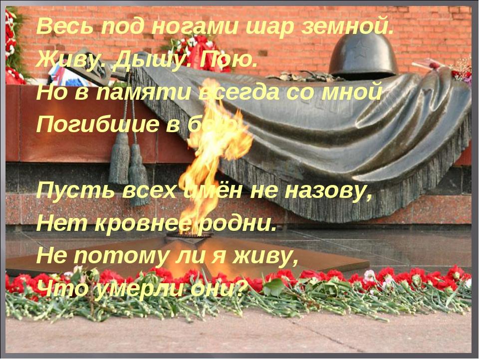Весь под ногами шар земной. Живу. Дышу. Пою. Но в памяти всегда со мной Погиб...