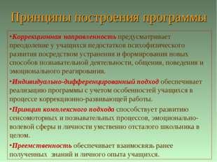 Принципы построения программы Коррекционная направленность предусматривает пр