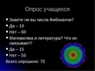 Опрос учащихся Знаете ли вы числа Фибоначчи? Да – 10 Нет – 60 Математика и ли