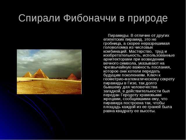 Спирали Фибоначчи в природе Пирамиды. В отличие от других египетских пирамид,...