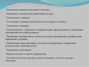 - Проведение тренингов различной тематики; - Размещение тематической информац