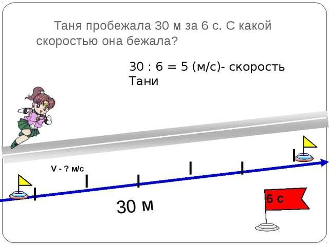 Таня пробежала 30 м за 6 с. С какой скоростью она бежала? 30 : 6 = 5 (м/с)-...
