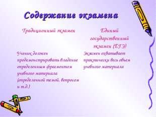 Содержание экзамена Традиционный экзаменЕдиный государственный экзамен (ЕГЭ)