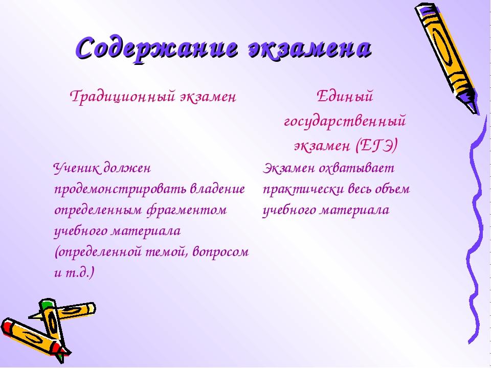 Содержание экзамена Традиционный экзаменЕдиный государственный экзамен (ЕГЭ)...