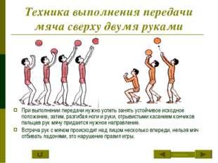 Техника выполнения передачи мяча сверху двумя руками При выполнении передачи