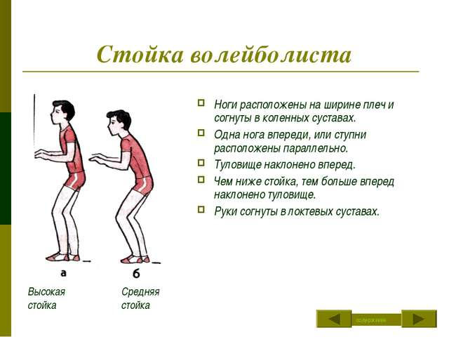 Стойка волейболиста Ноги расположены на ширине плеч и согнуты в коленных суст...