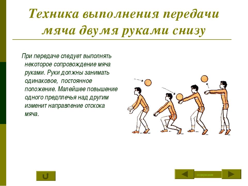 Техника выполнения передачи мяча двумя руками снизу При передаче следует выпо...