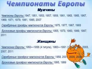 Женщины Чемпионки Европы: 1950—1956 (4 титула), 1960—1991 (17 титулов), 2003,