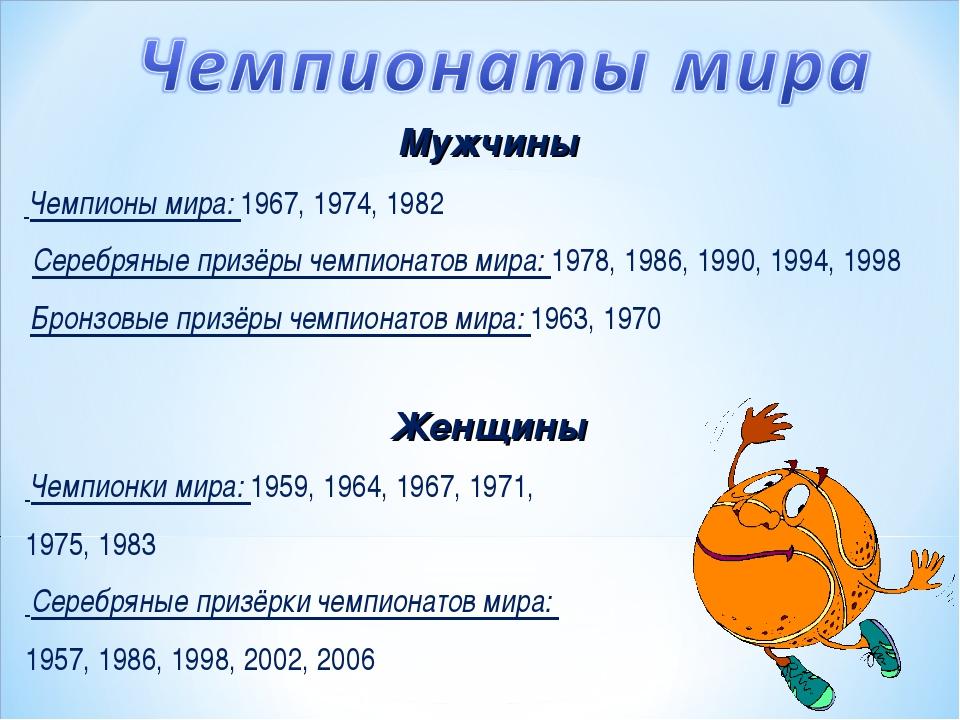 Женщины Чемпионки мира: 1959, 1964, 1967, 1971, 1975, 1983 Серебряные призёрк...