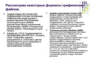 Рассмотрим некоторые форматы графических файлов. Tagged Image File Format (MJ