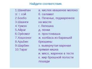 Найдите соответствия. 1.Шанаhанзϴϴхэй 2.Бообо 3.Шаанги 4.Yрмэн 5.Айраг 6.Орё