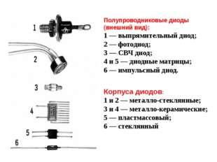 Полупроводниковые диоды (внешний вид): 1 — выпрямительный диод; 2 — фотодиод;