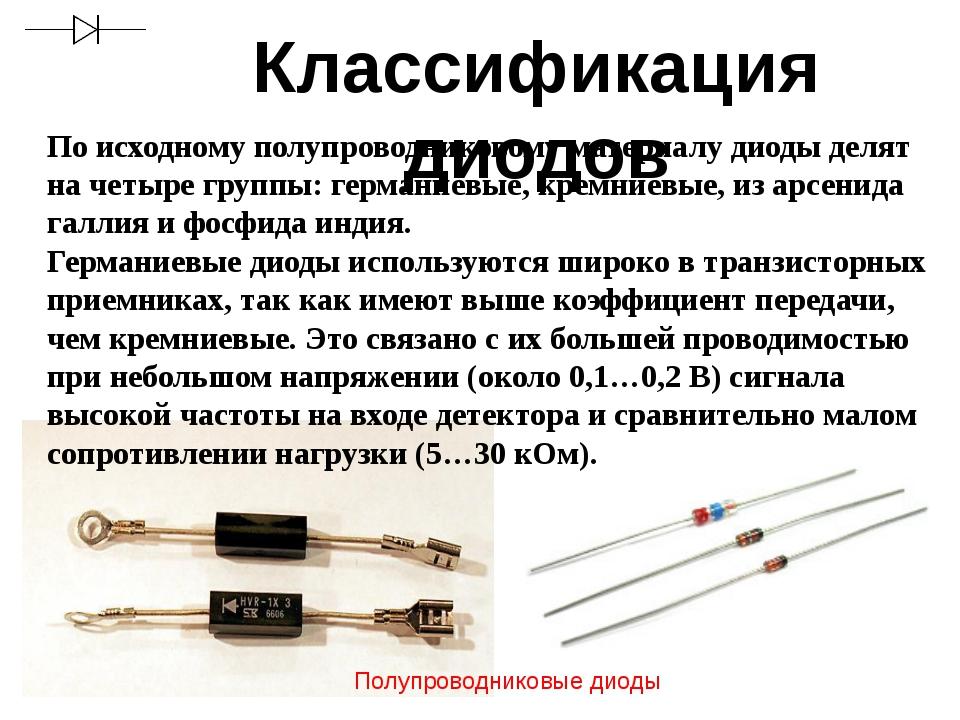 Классификация диодов По исходному полупроводниковому материалу диоды делят на...