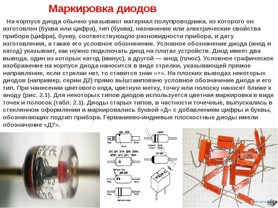 Маркировка диодов На корпусе диода обычно указывают материал полупроводник...