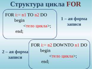 Структура цикла FOR  FOR i:= n1 TO n2 DO begin ;  end; FOR i:= n2 DOWN