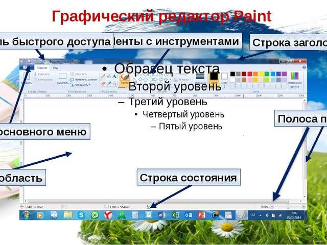 Графический редактор Paint Ленты с инструментами Кнопка основного меню Панель...