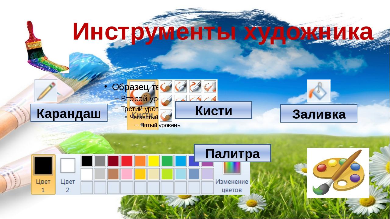 Инструменты художника Карандаш Кисти Заливка Палитра Компьютерную графику при...