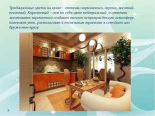 Традиционные цвета на кухне - оттенки коричневого, персик, желтый, песочный.