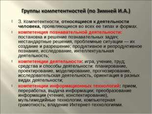 3. Компетентности, относящиеся к деятельности человека, проявляющиеся во всех