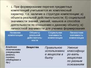 1. При формировании перечня предметных компетенций учитывается их комплексный