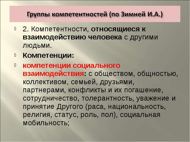 2. Компетентности, относящиеся к взаимодействию человека с другими людьми. Ко...