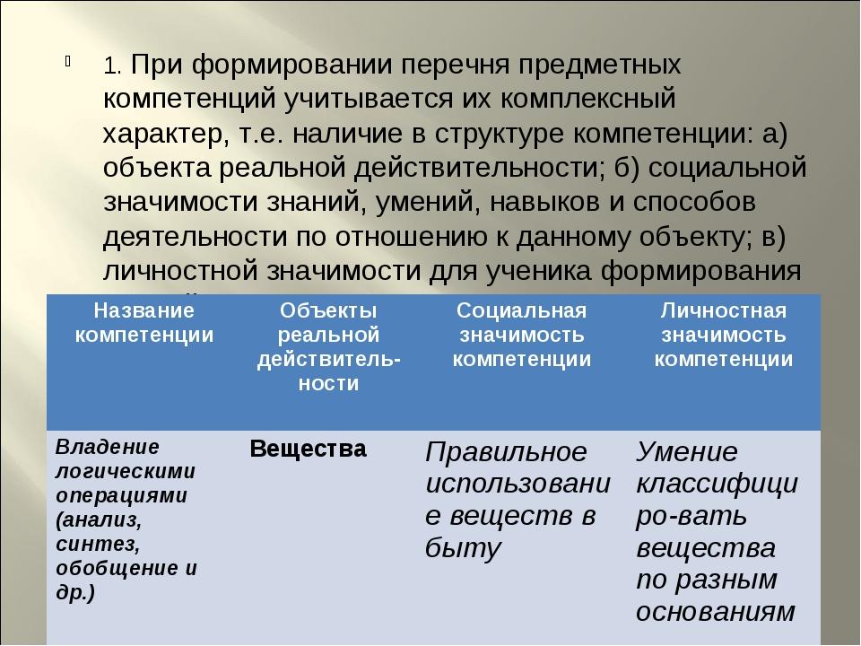 1. При формировании перечня предметных компетенций учитывается их комплексный...