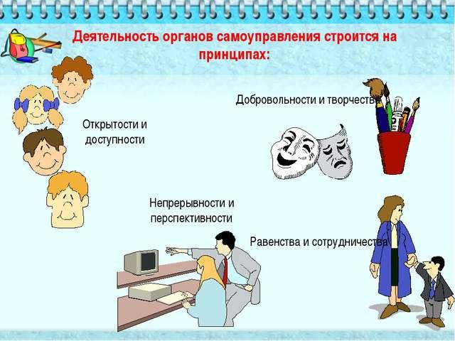 Деятельность органов самоуправления строится на принципах: Открытости и досту...