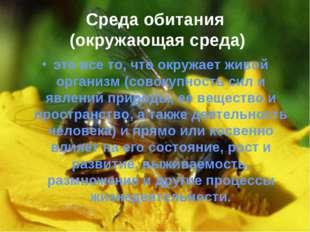 Среда обитания (окружающая среда) это все то, что окружает живой организм (со