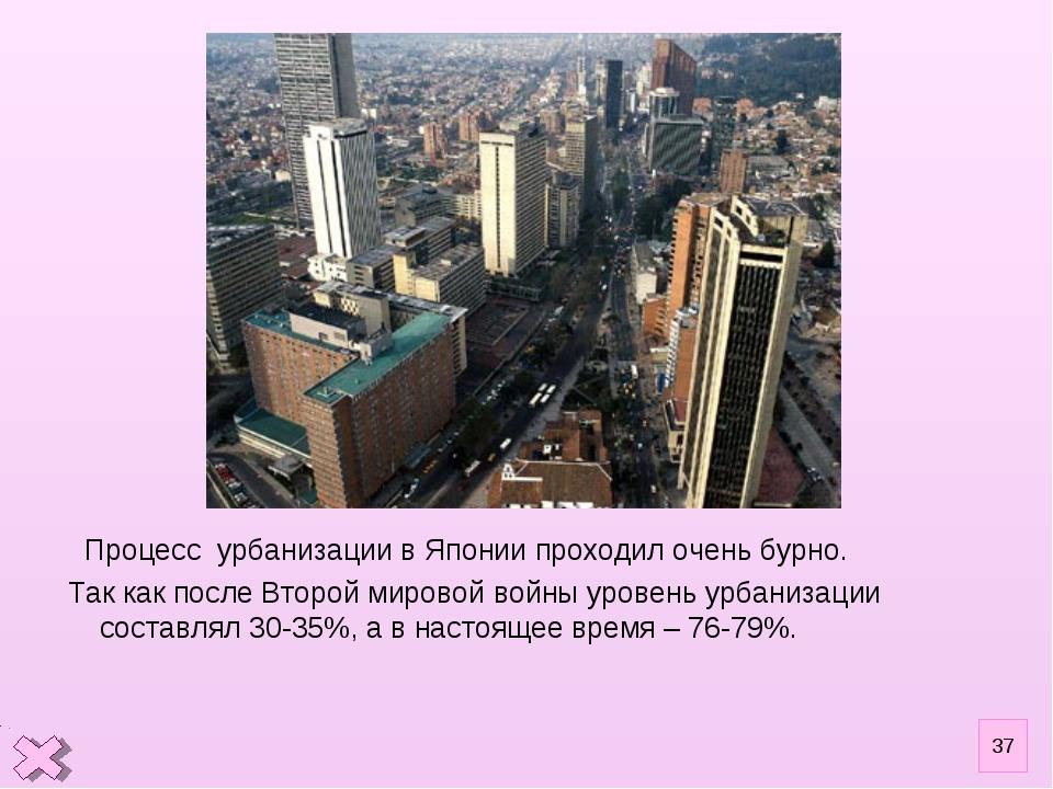 Процесс урбанизации в Японии проходил очень бурно. Так как после Второй миро...