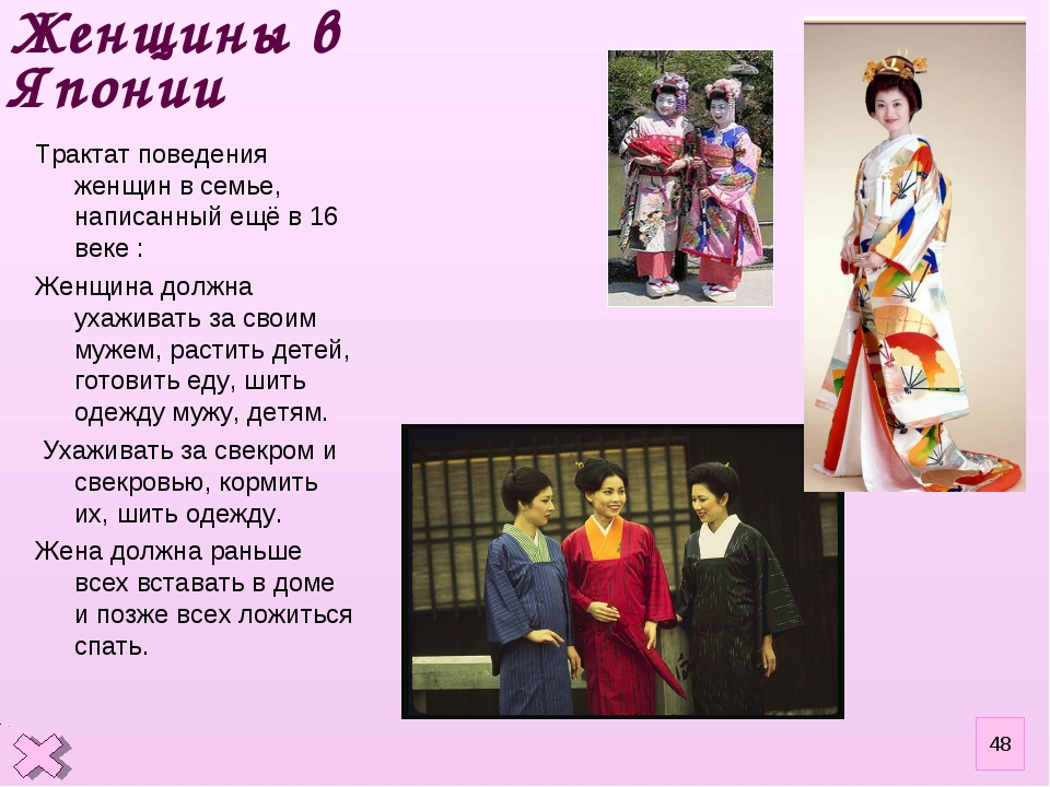 Женщины в Японии Трактат поведения женщин в семье, написанный ещё в 16 веке :...