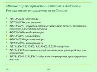 ашр ашр Многие нормы применения пищевых добавок в России ниже их аналогов за