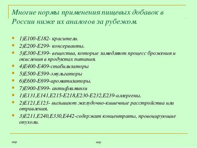 ашр ашр Многие нормы применения пищевых добавок в России ниже их аналогов за...