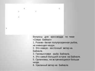 Вопросы для кроссворда по теме «Озеро Байкал» 1. Розово- белая полупрозрачная
