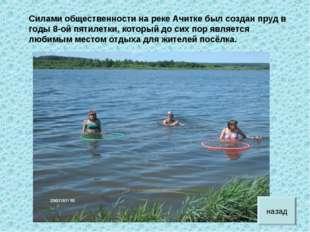 Силами общественности на реке Ачитке был создан пруд в годы 8-ой пятилетки, к