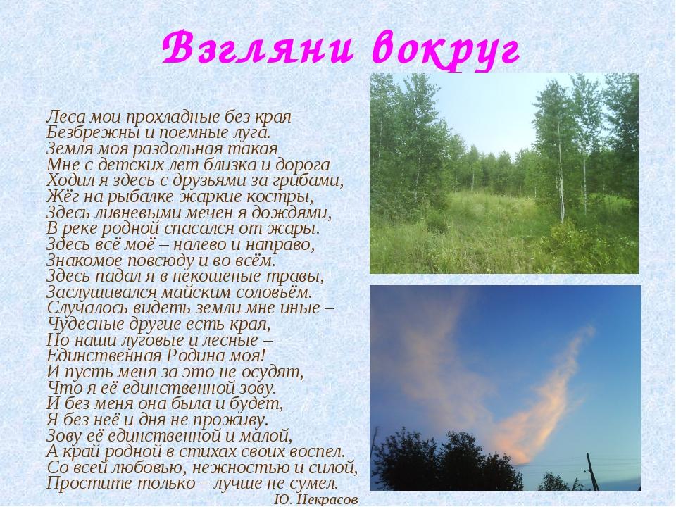 Взгляни вокруг Леса мои прохладные без края Безбрежны и поемные луга. Земля м...