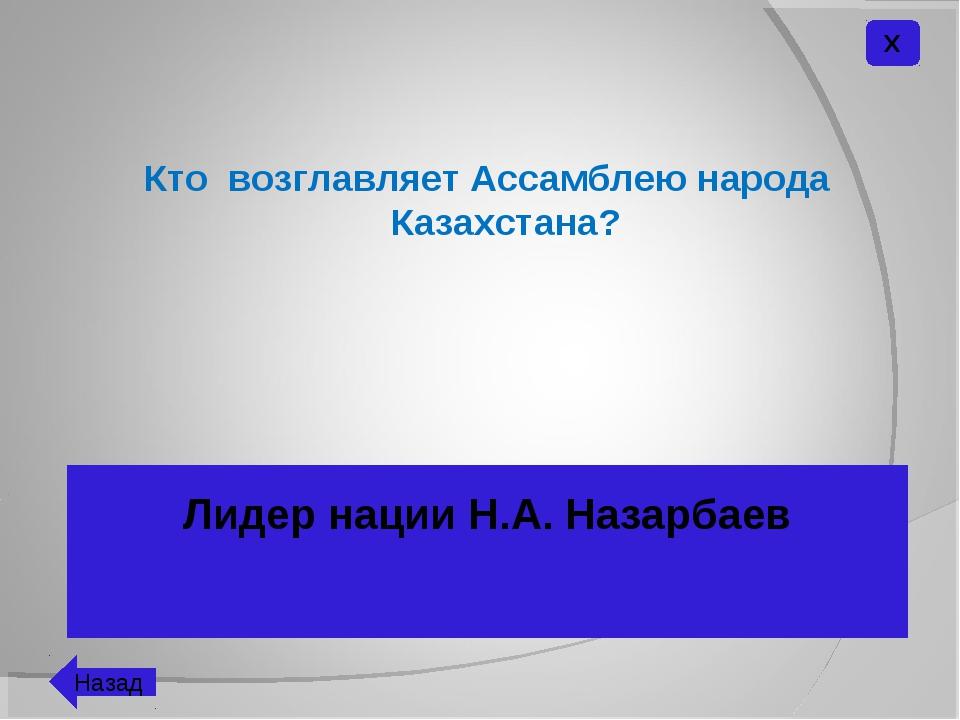 Кто возглавляет Ассамблею народа Казахстана? Лидер нации Н.А. Назарбаев Х Назад
