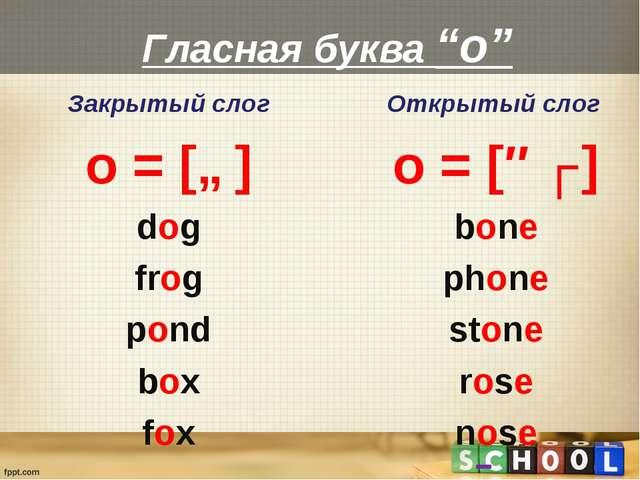 "Гласная буква ""o"" Закрытый слог o = [ɒ] dog frog pond box fox Открытый слог o..."