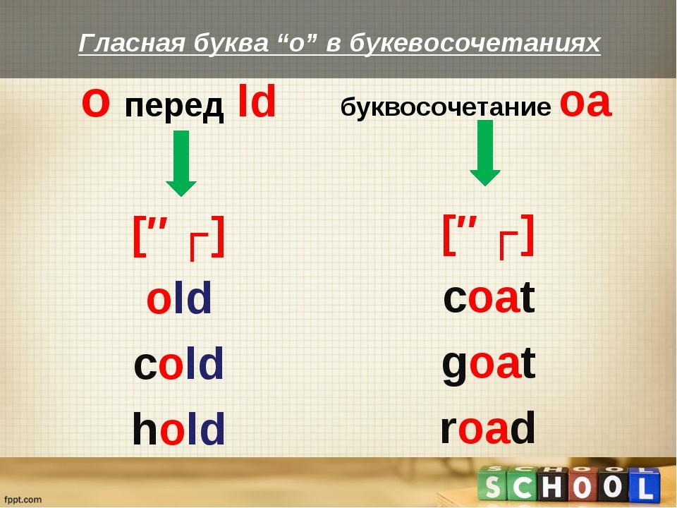 o перед ld [əʊ] old cold hold буквосочетание oa [əʊ] coat goat road Гласная б...